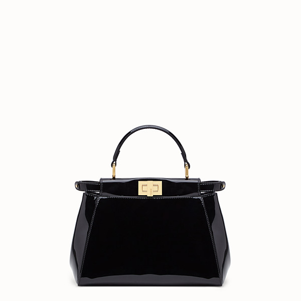 FENDI PEEKABOO ICONIC MINI - Black patent leather bag - view 1 small thumbnail