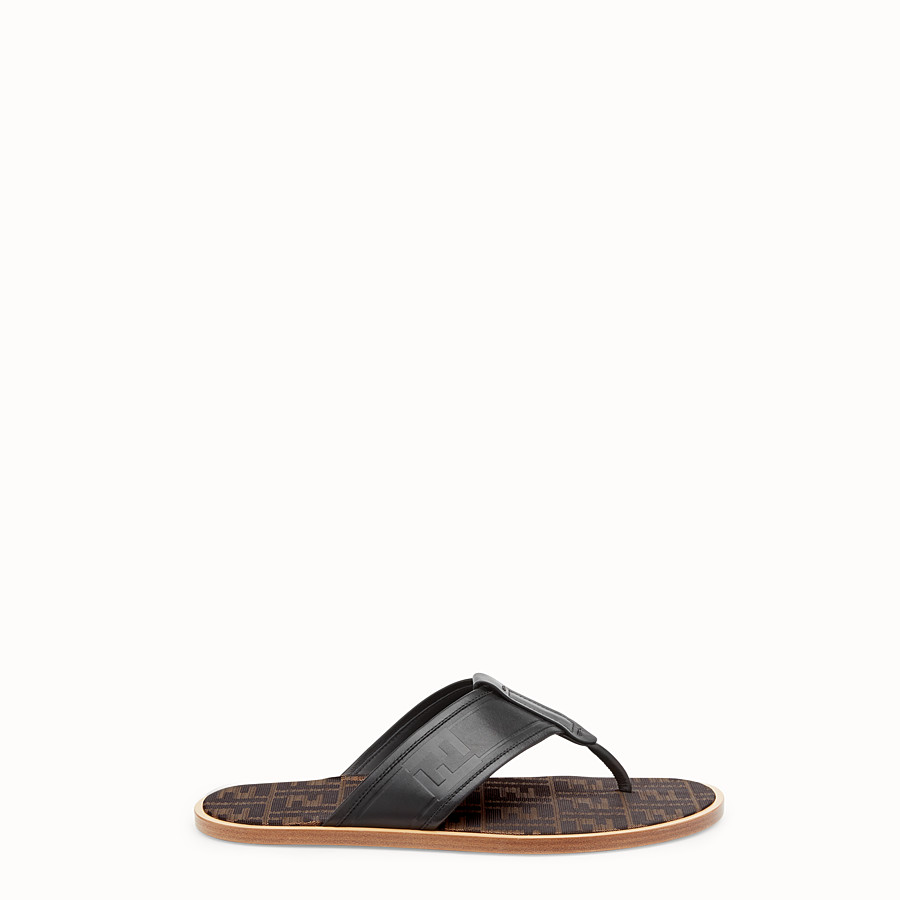 FENDI SANDALS - Black leather thong sandals - view 1 detail