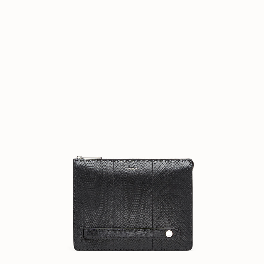 FENDI CLUTCH - Black python leather pochette - view 1 detail