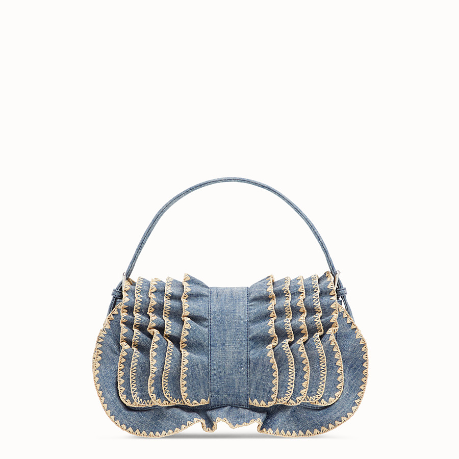 FENDI BAGUETTE - Blue denim bag - view 3 detail