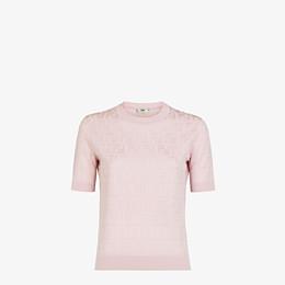 FENDI SWEATER - Pink cotton and viscose sweater - view 1 thumbnail