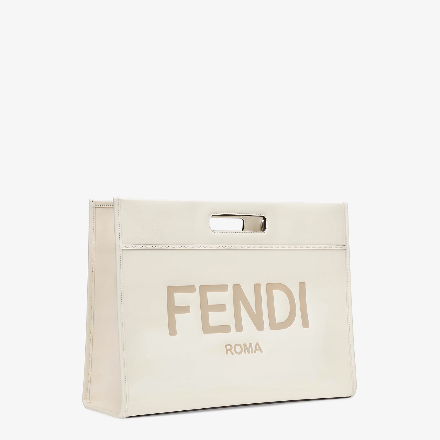 FENDI SHOPPING BAG - White leather shopper - view 3 detail