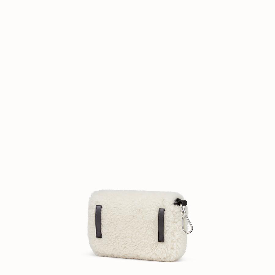 FENDI MICRO BAGUETTE - White sheepskin micro-bag - view 2 detail