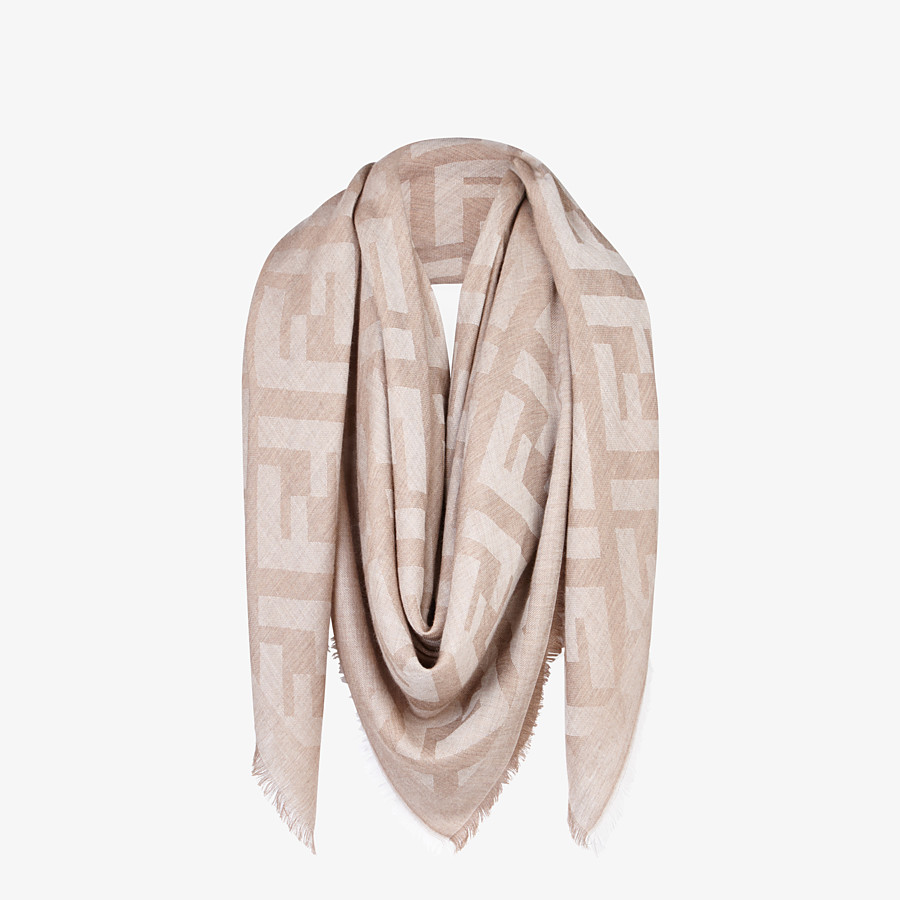 FENDI FF SHAWL - Beige cashmere and viscose shawl - view 2 detail
