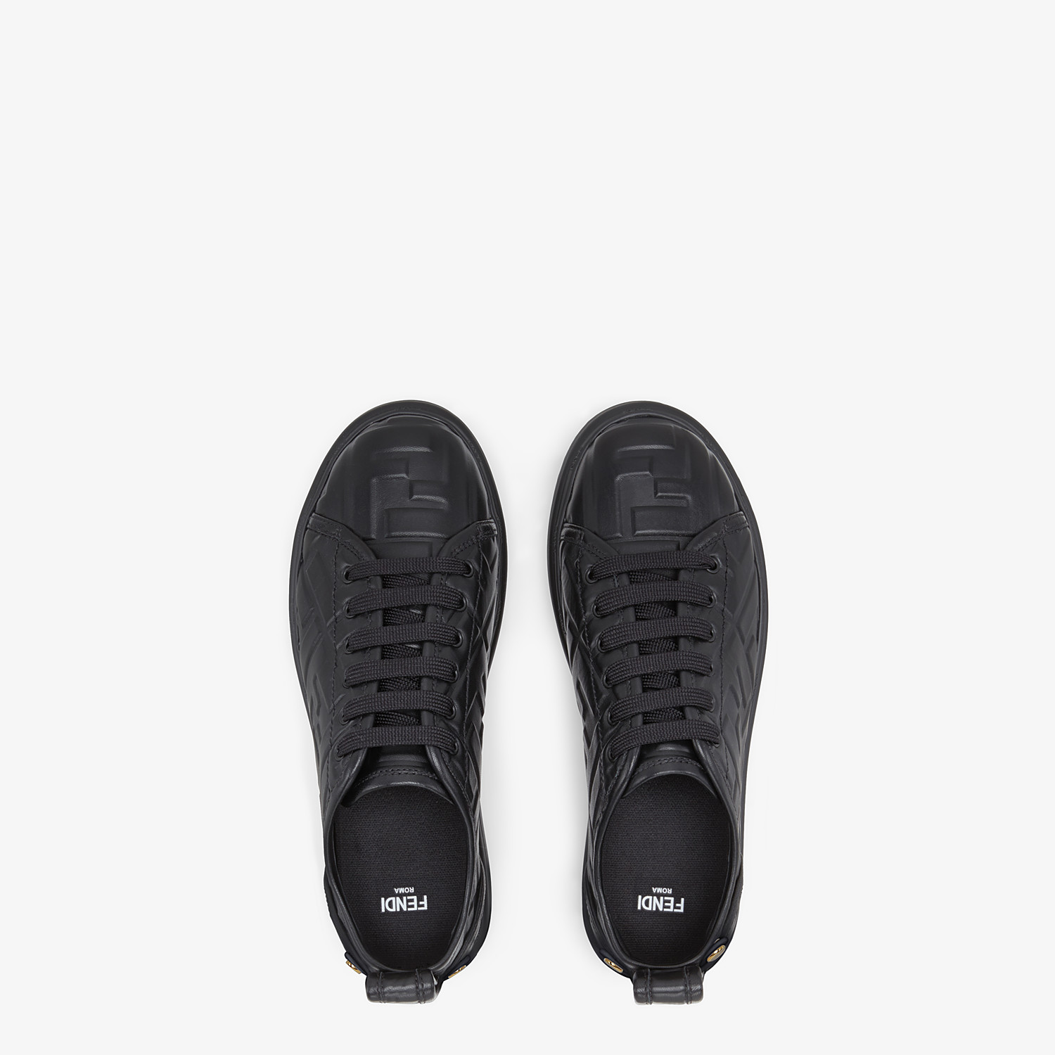 FENDI FENDI RISE - Black leather flatform sneakers - view 4 detail