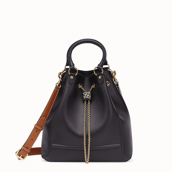 FENDI CHAIN BUCKET - Sac seau en cuir noir - view 1 small thumbnail