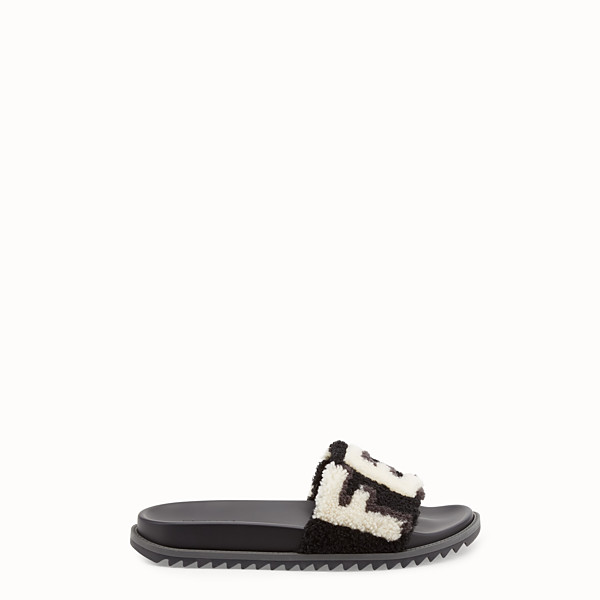 FENDI SLIDES - Black sheepskin slides - view 1 small thumbnail