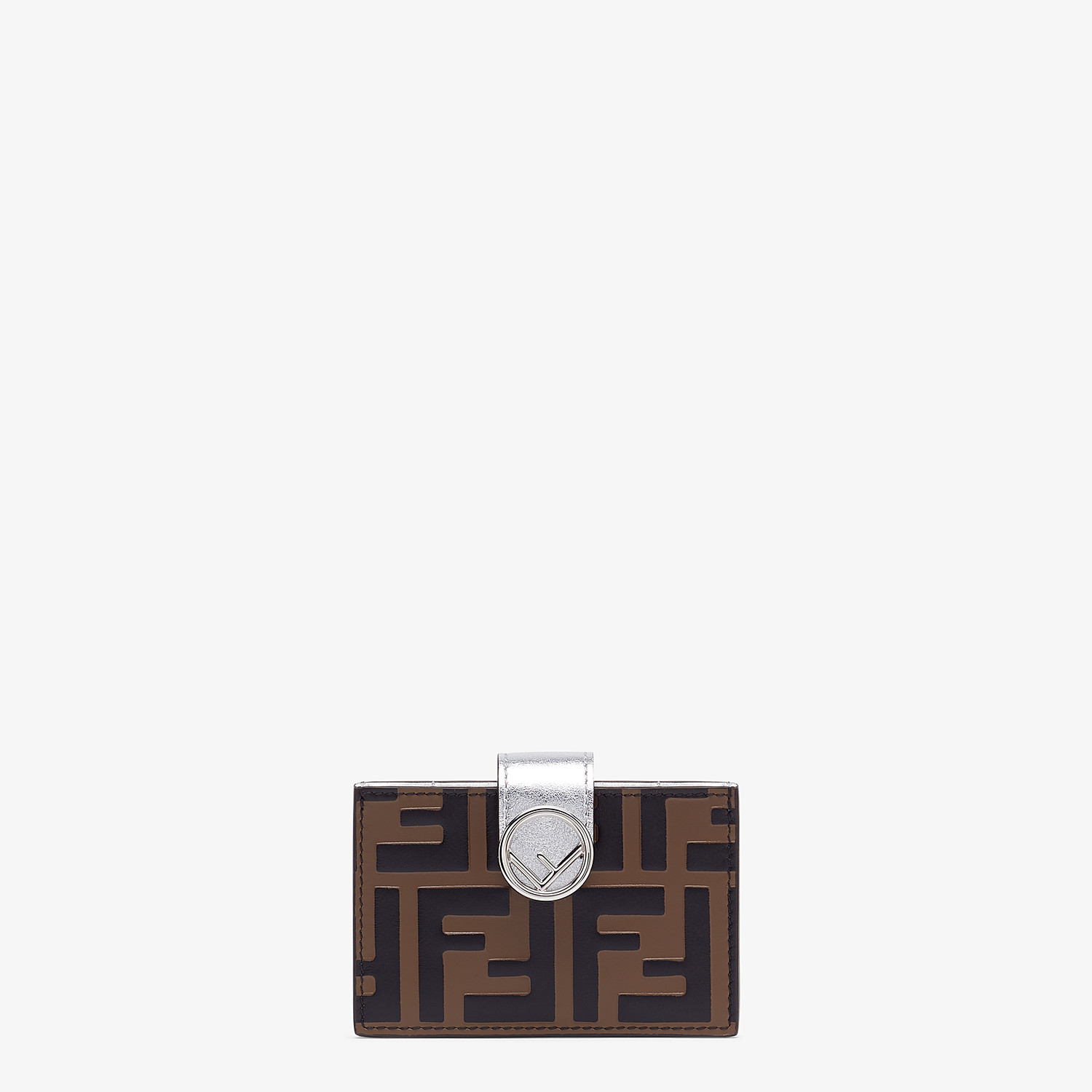 FENDI CARD HOLDER - Silver leather gusseted card holder - view 1 detail