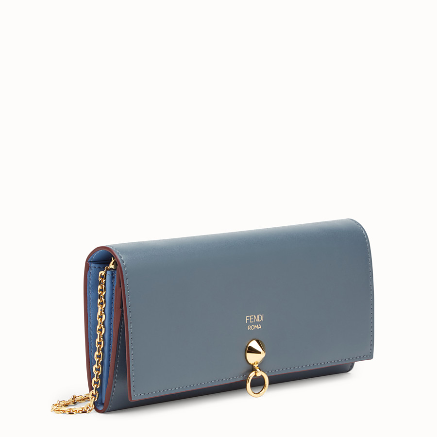 FENDI CONTINENTAL WITH CHAIN - Blue leather wallet - view 2 detail
