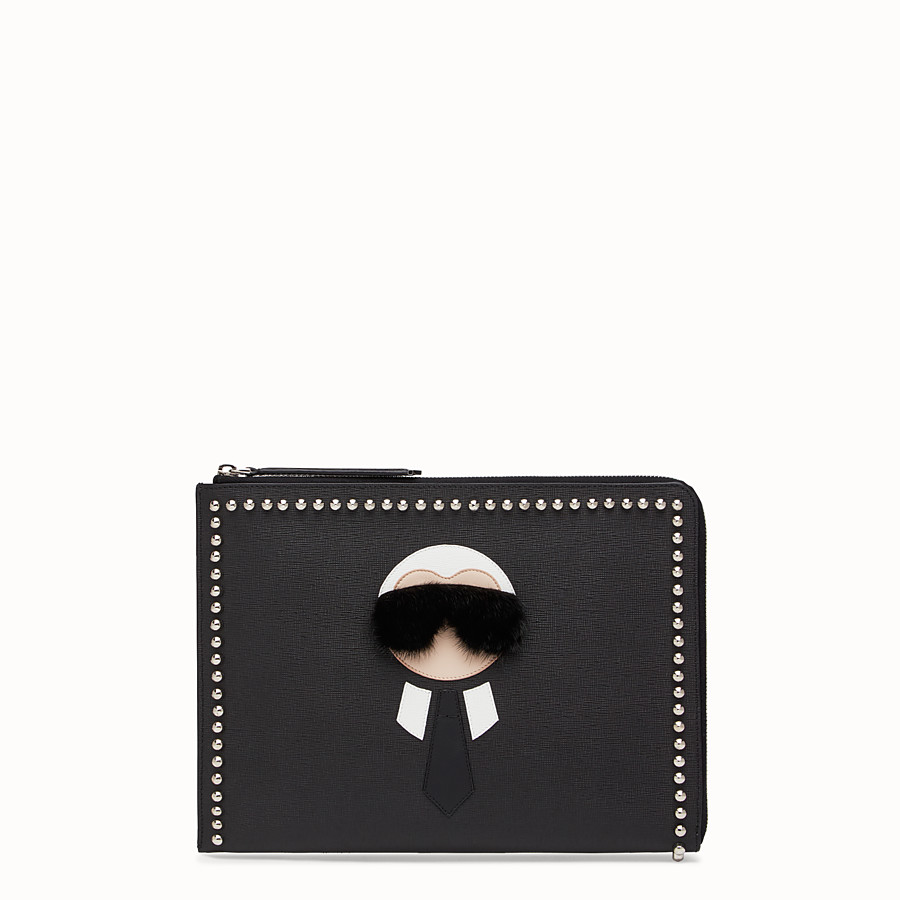 FENDI CLUTCH - in black leather with inlay - view 1 detail