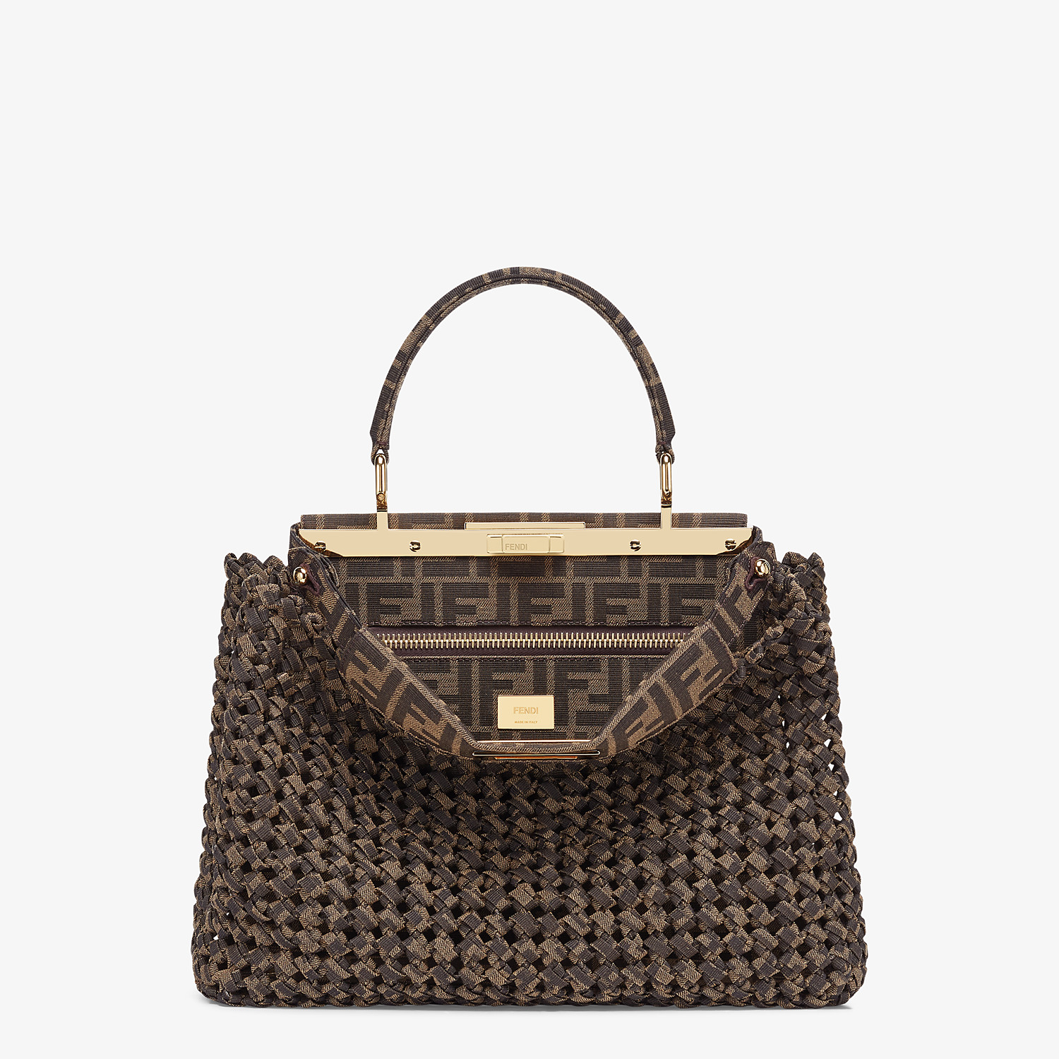 FENDI PEEKABOO ICONIC MEDIUM - Jacquard fabric interlace bag - view 1 detail