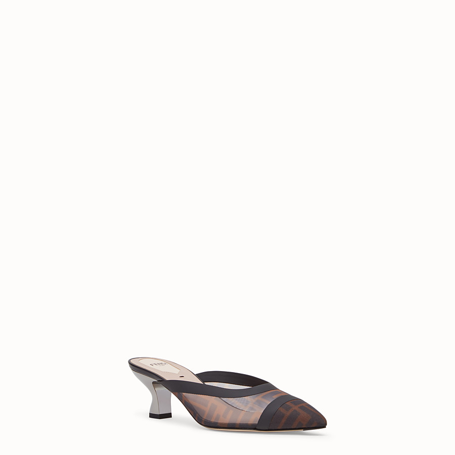 FENDI SLINGBACK - Brown mesh and black leather colibrì - view 2 detail