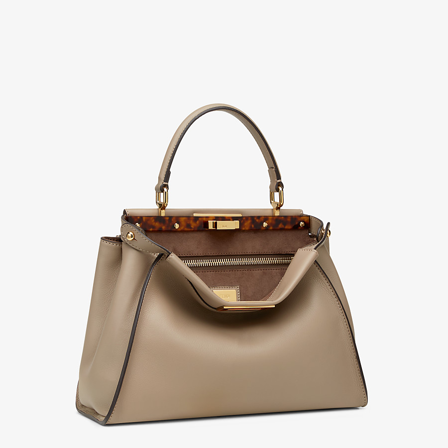 FENDI PEEKABOO ICONIC MEDIUM - dove gray leather handbag - view 2 detail