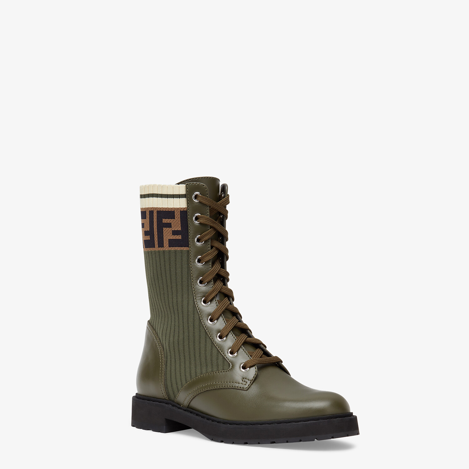FENDI ANKLE BOOTS - Green leather biker boots - view 2 detail