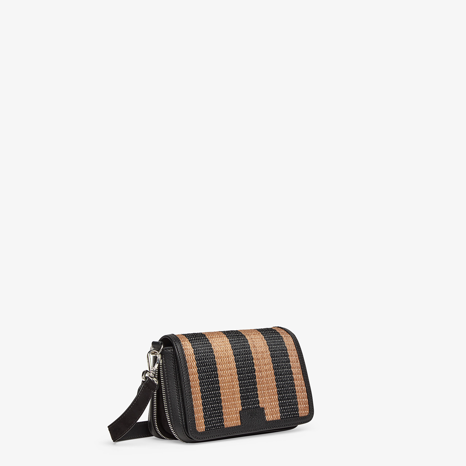 FENDI FLAP BAG - Brown raffia bag - view 3 detail