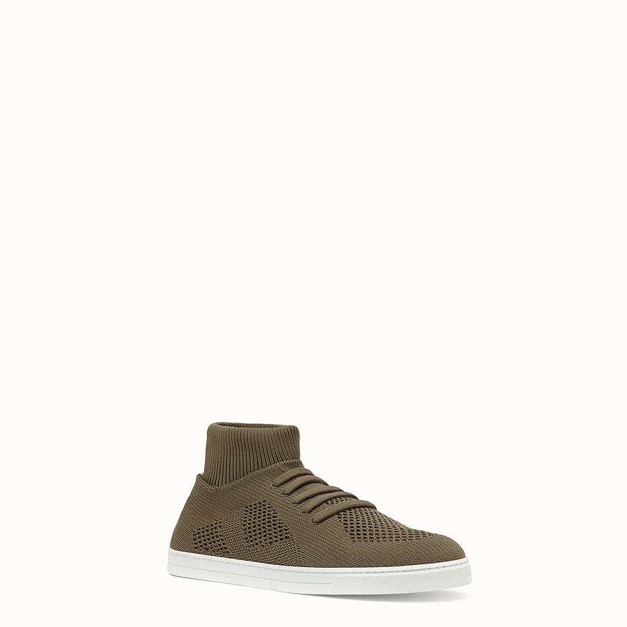 FENDI SNEAKER - Knitted mud-brown slip-ons - view 2 detail