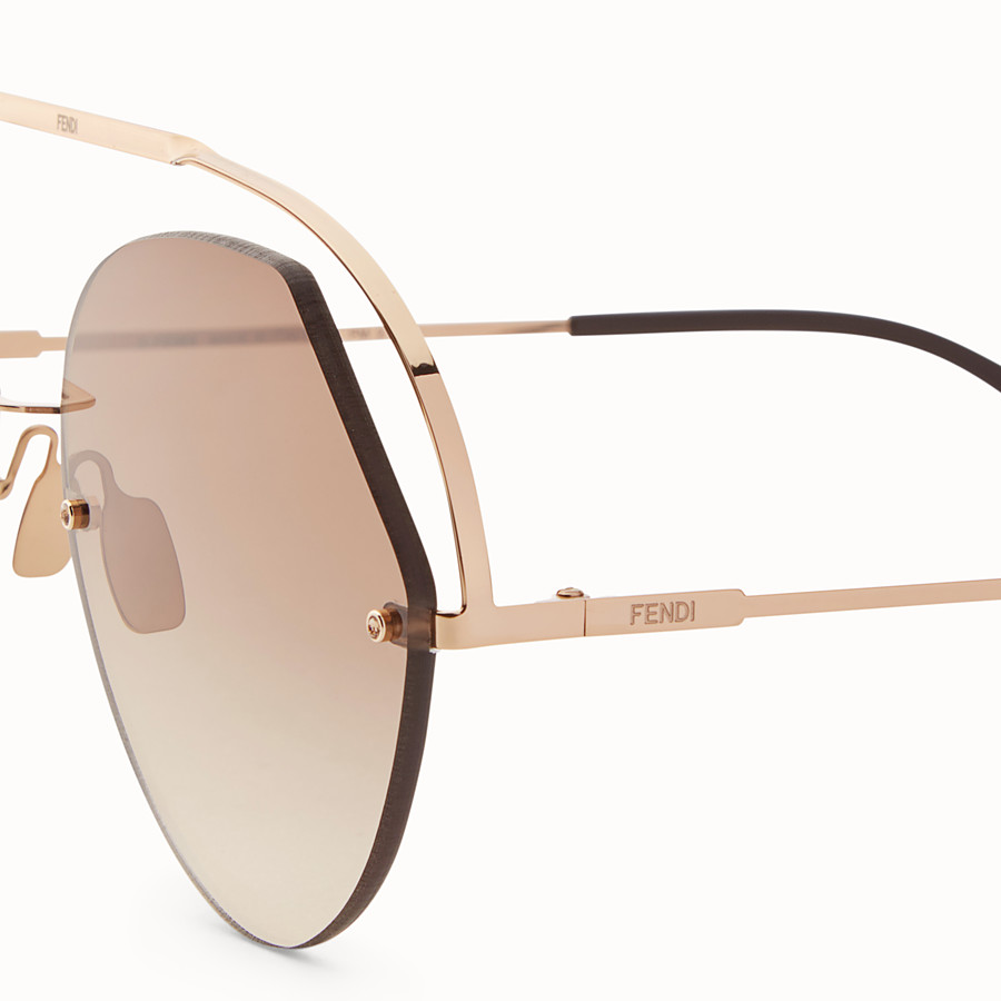 FENDI RIBBONS & CRYSTALS - Rose gold-coloured sunglasses - view 3 detail