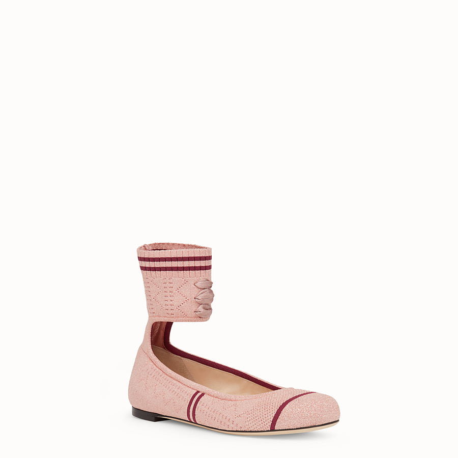 FENDI BALLERINAS - Pink fabric flats - view 2 detail