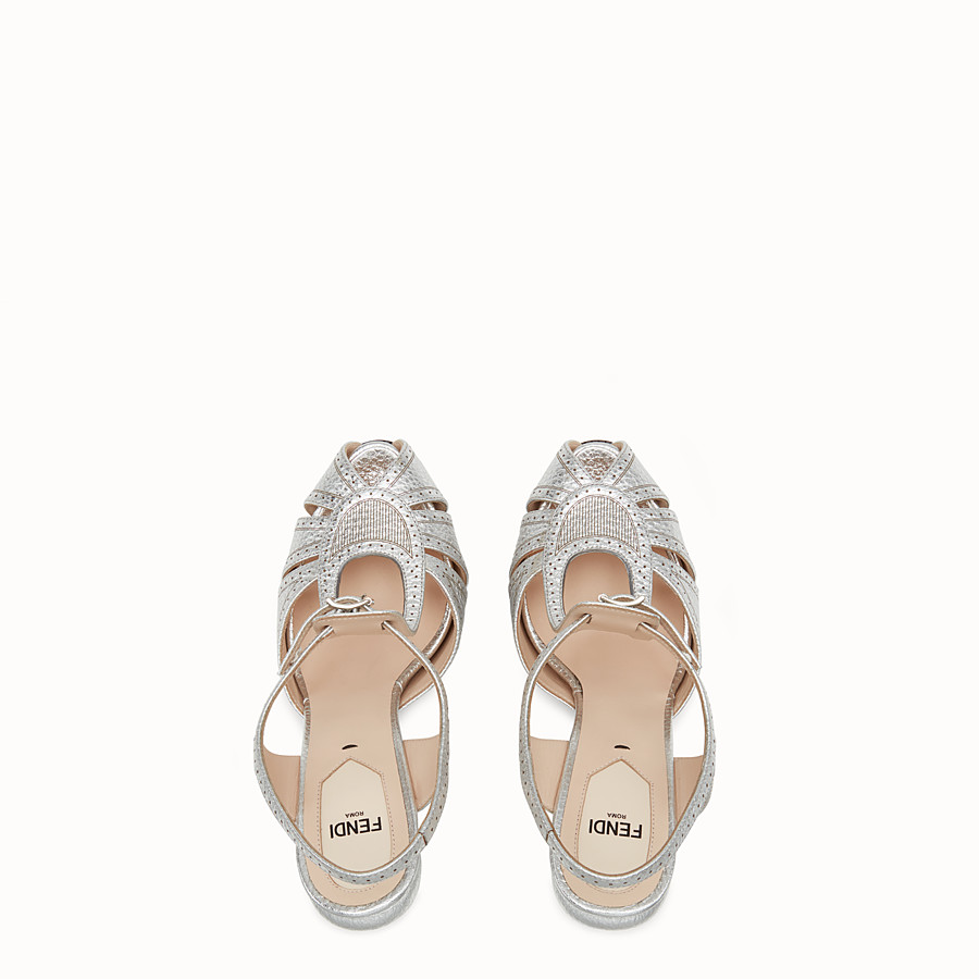 FENDI SANDALS - Silver laminated leather sandals - view 4 detail