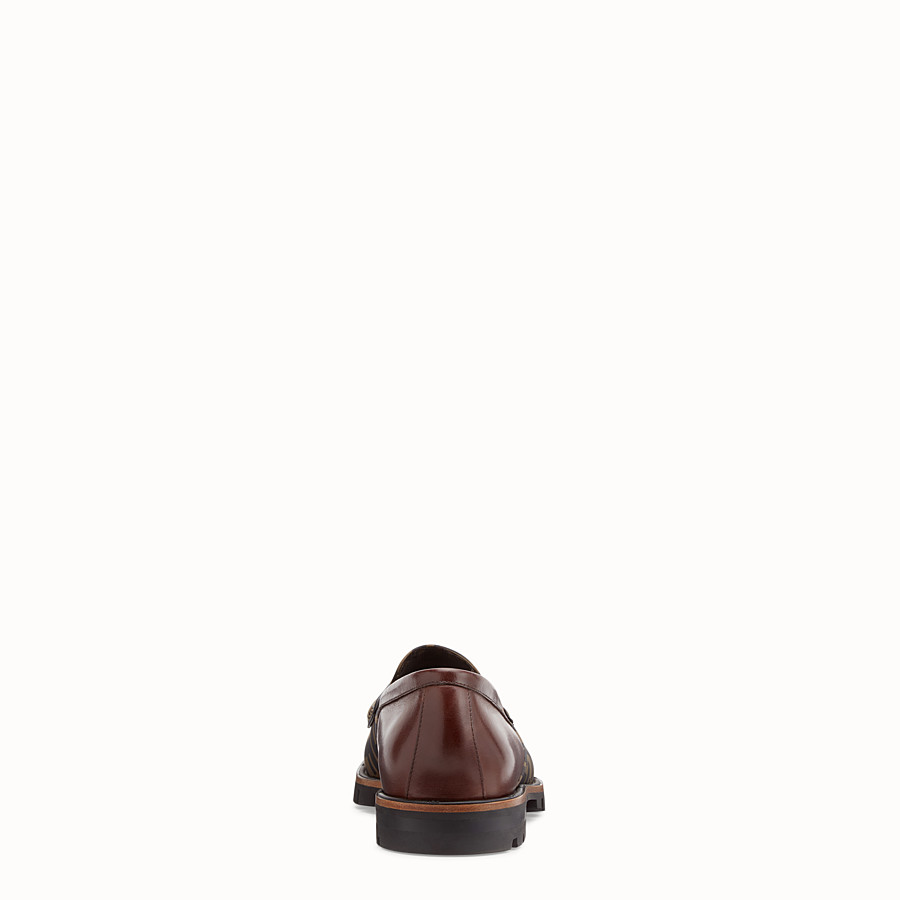 FENDI LOAFERS - Brown leather and TPU loafers - view 3 detail