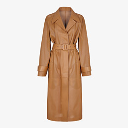 FENDI OVERCOAT - Brown leather trench coat - view 1 thumbnail
