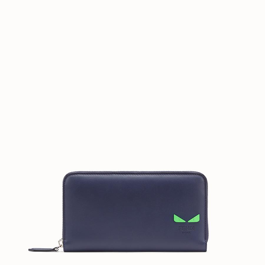 FENDI ZIP-AROUND - Blue leather wallet - view 1 detail