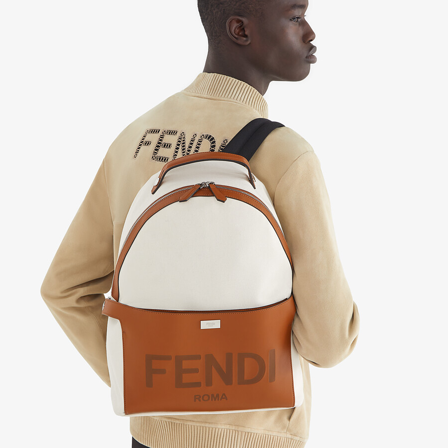 FENDI ESSENTIAL BACKPACK - Undyed canvas backpack - view 6 detail