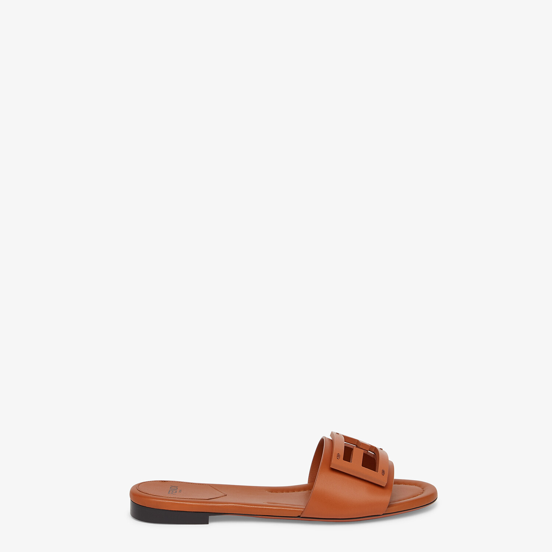 FENDI SIGNATURE - Brown leather slides - view 1 detail