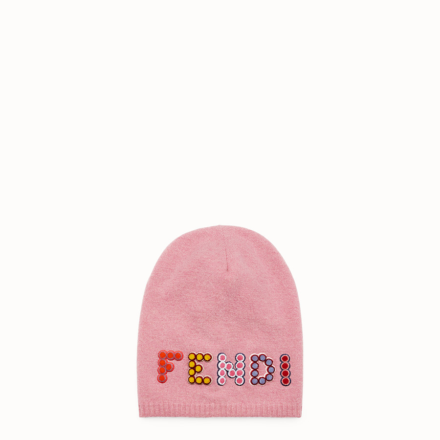 FENDI FUN FAIR HAT - Pink wool and cashmere hat - view 1 detail