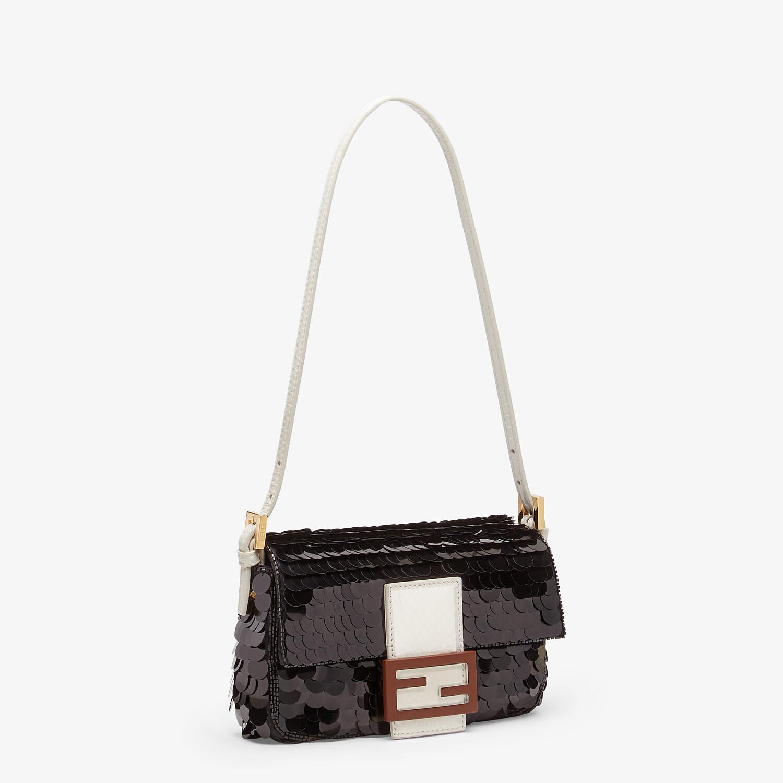 FENDI MINI BAGUETTE 1997 - Black satin bag with sequins - view 2 detail