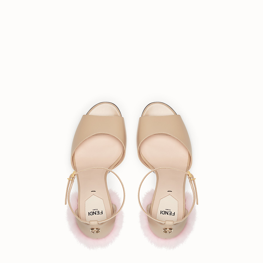 FENDI SANDALS - Beige leather high sandals - view 4 detail