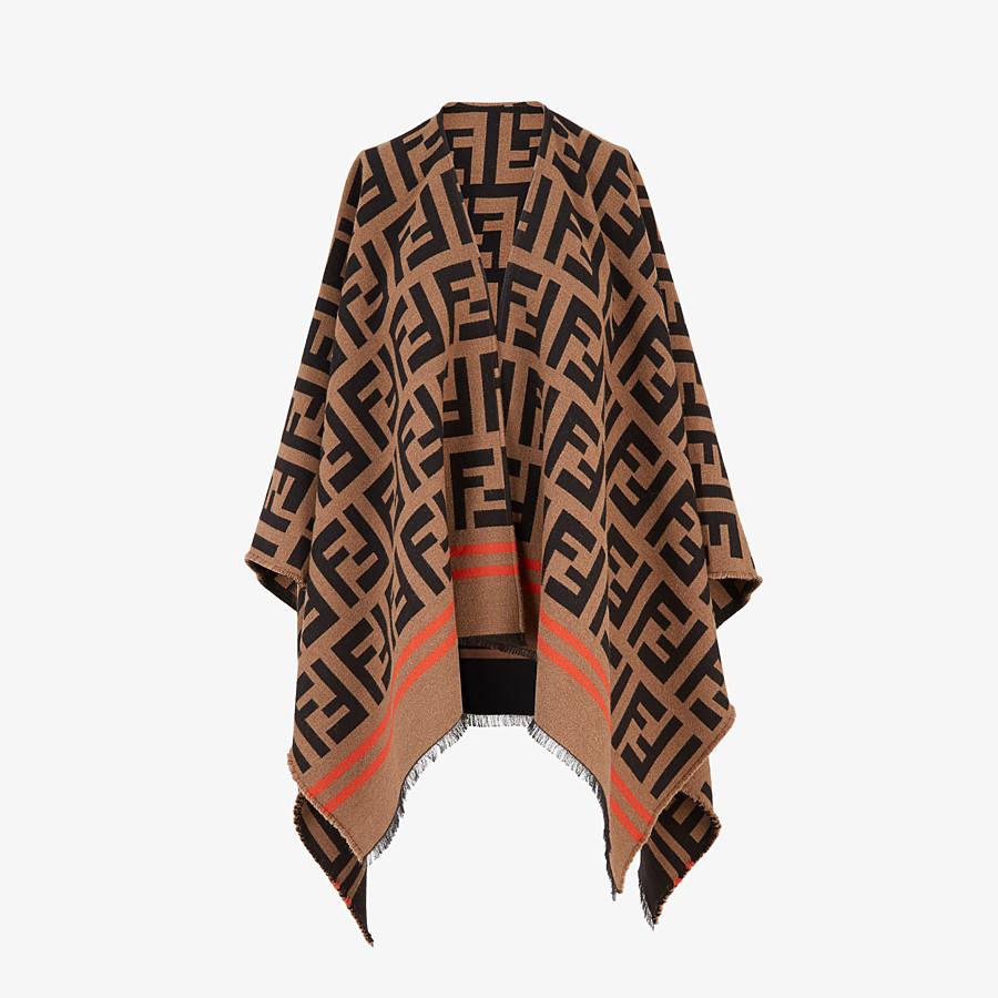 FENDI FF PONCHO - Multicolor wool and silk poncho - view 1 detail