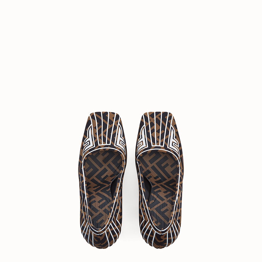 FENDI COURT SHOES - Court shoes in brown fabric - view 4 detail