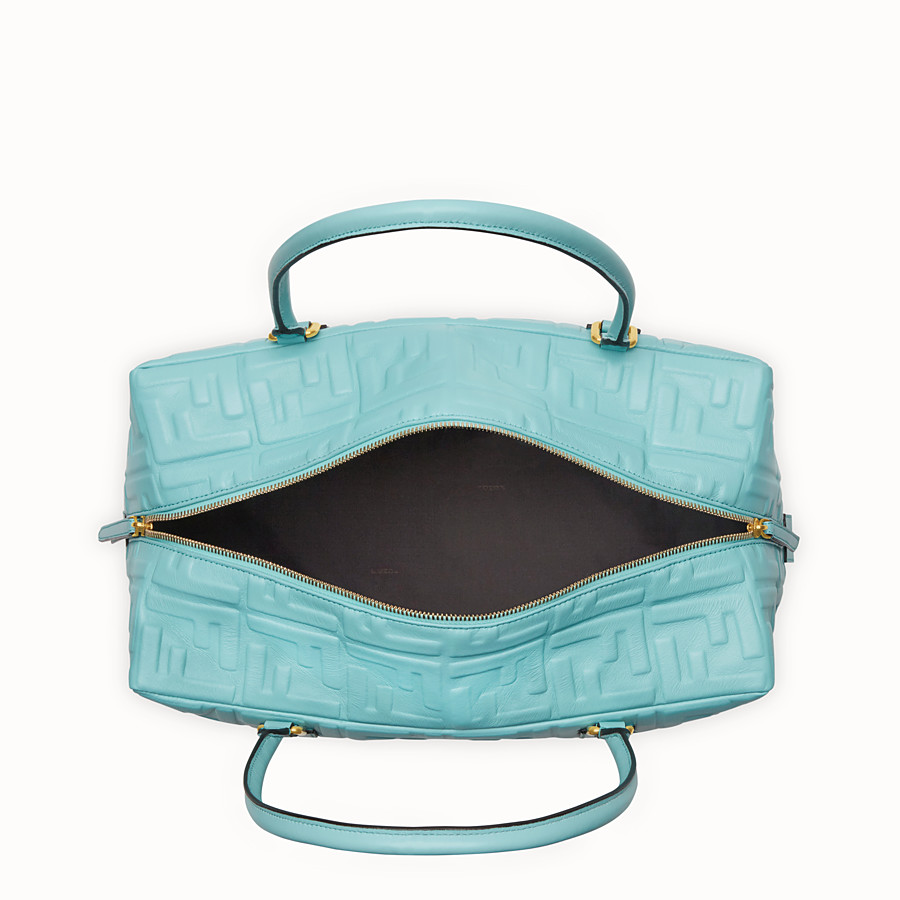 FENDI BOSTON LARGE - Pale blue leather Boston bag - view 5 detail