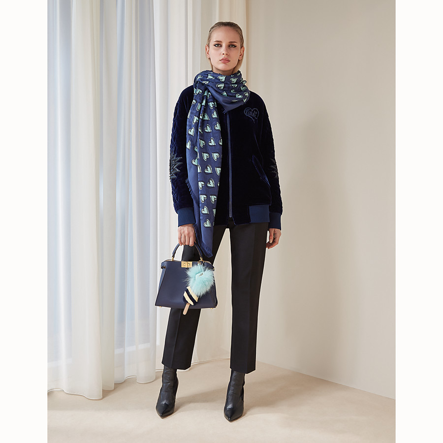 """FENDI """"Open your Heart"""" SHAWL - Blue silk and wool shawl - view 3 detail"""