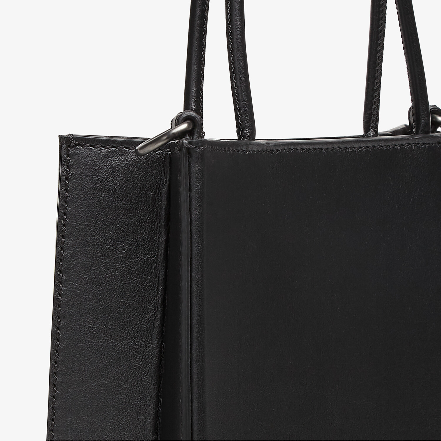 FENDI FENDI PACK SMALL SHOPPING BAG - Black leather bag - view 5 detail
