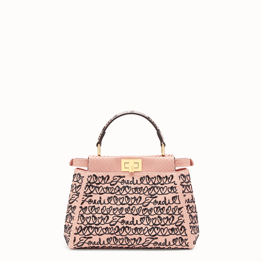 FENDI PEEKABOO MINI - Pink python leather bag - view 3 detail