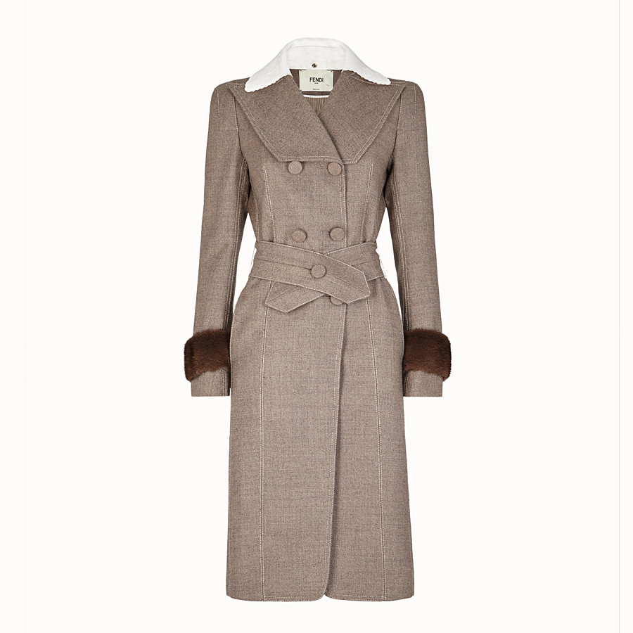 FENDI OVERCOAT - Grisaille fabric outerwear - view 1 detail