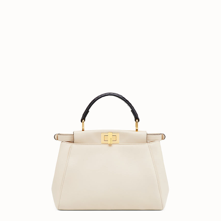 FENDI PEEKABOO MINI - White leather bag with exotic details - view 3 detail