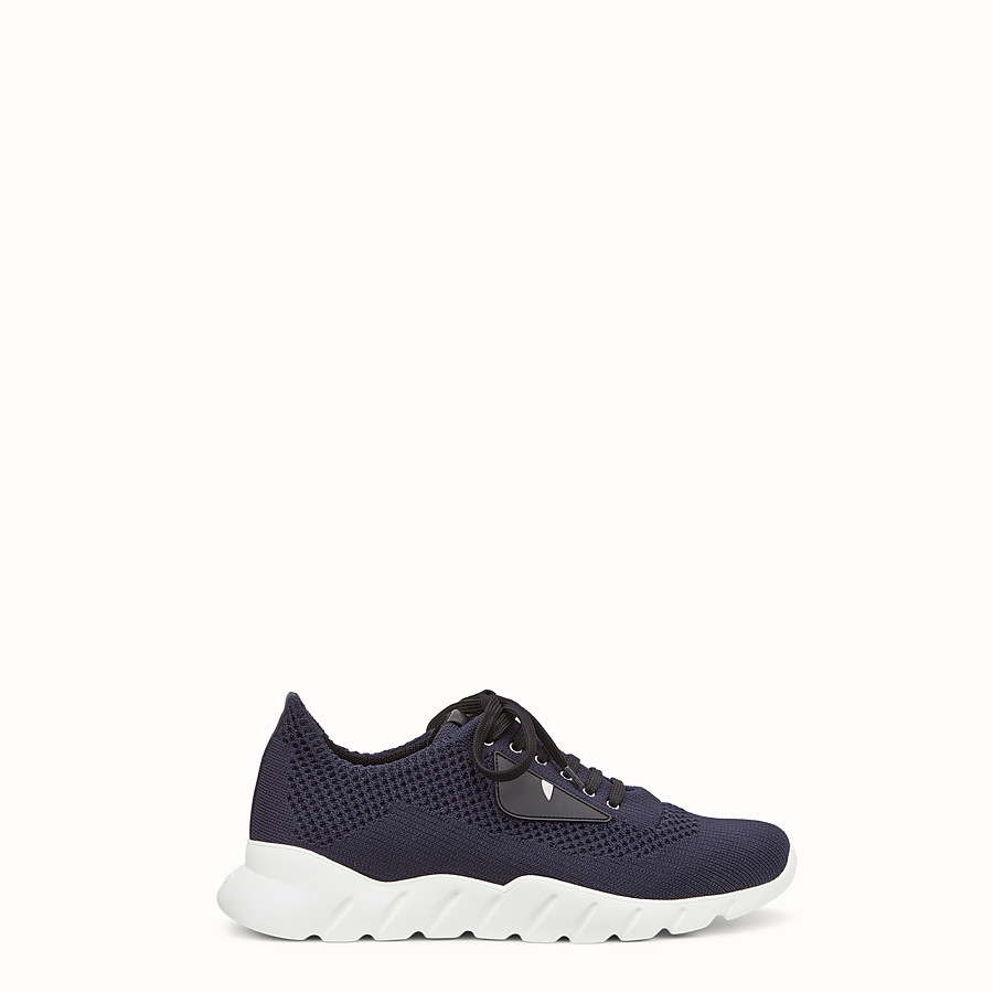 FENDI SNEAKERS - Running shoes in blue fabric and black leather - view 1 detail