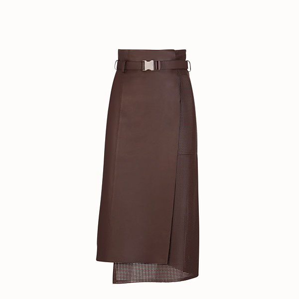 FENDI SKIRT - Brown nappa leather skirt - view 1 small thumbnail