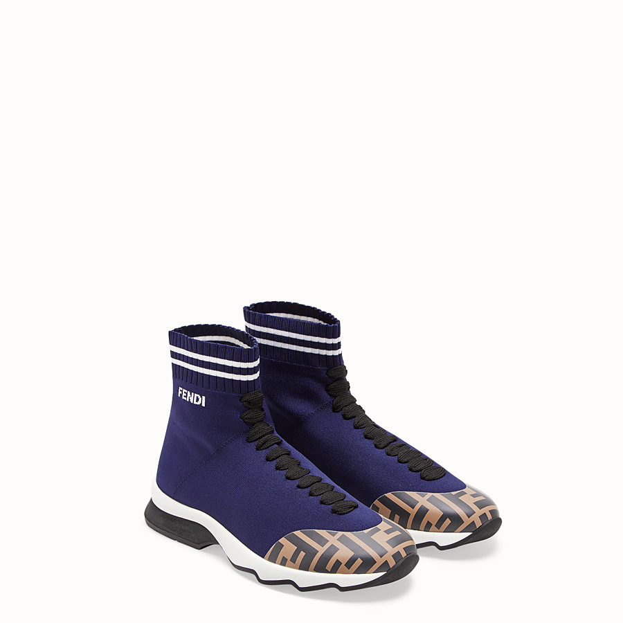 FENDI SNEAKERS - Blue fabric sneaker boots - view 4 detail