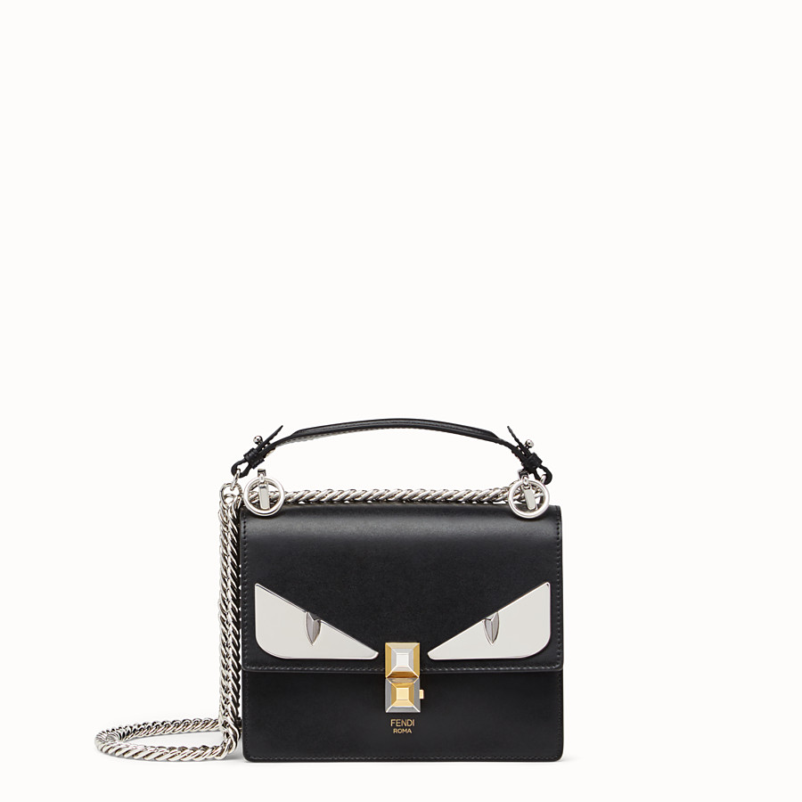 FENDI KAN I SMALL - Bag Bugs black leather mini bag - view 1 detail