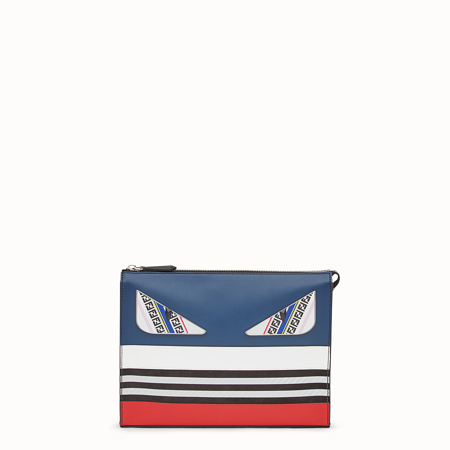 FENDI CLUTCH - Multicolor leather slim pouch - view 1 detail