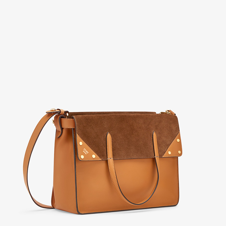 FENDI FENDI FLIP LARGE - Tasche aus Leder und Veloursleder in Braun - view 4 detail