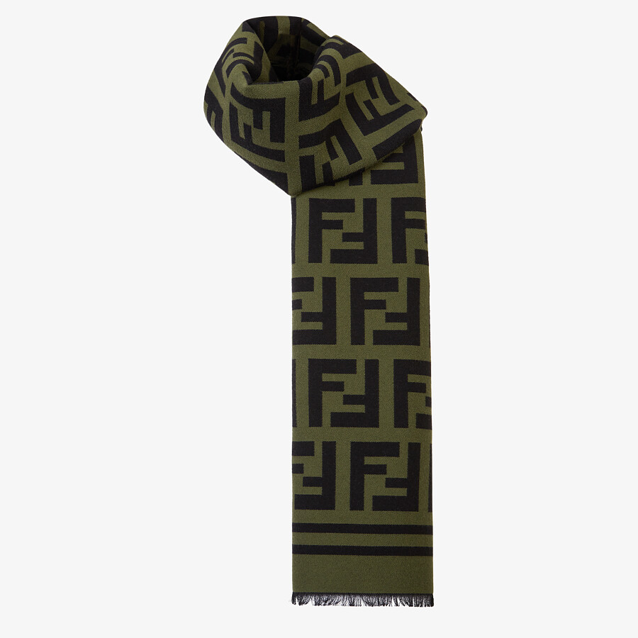 FENDI SCARF - Green wool and silk scarf - view 2 detail