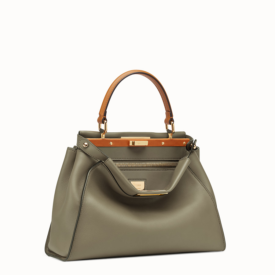 FENDI PEEKABOO REGULAR - Green leather bag - view 4 detail