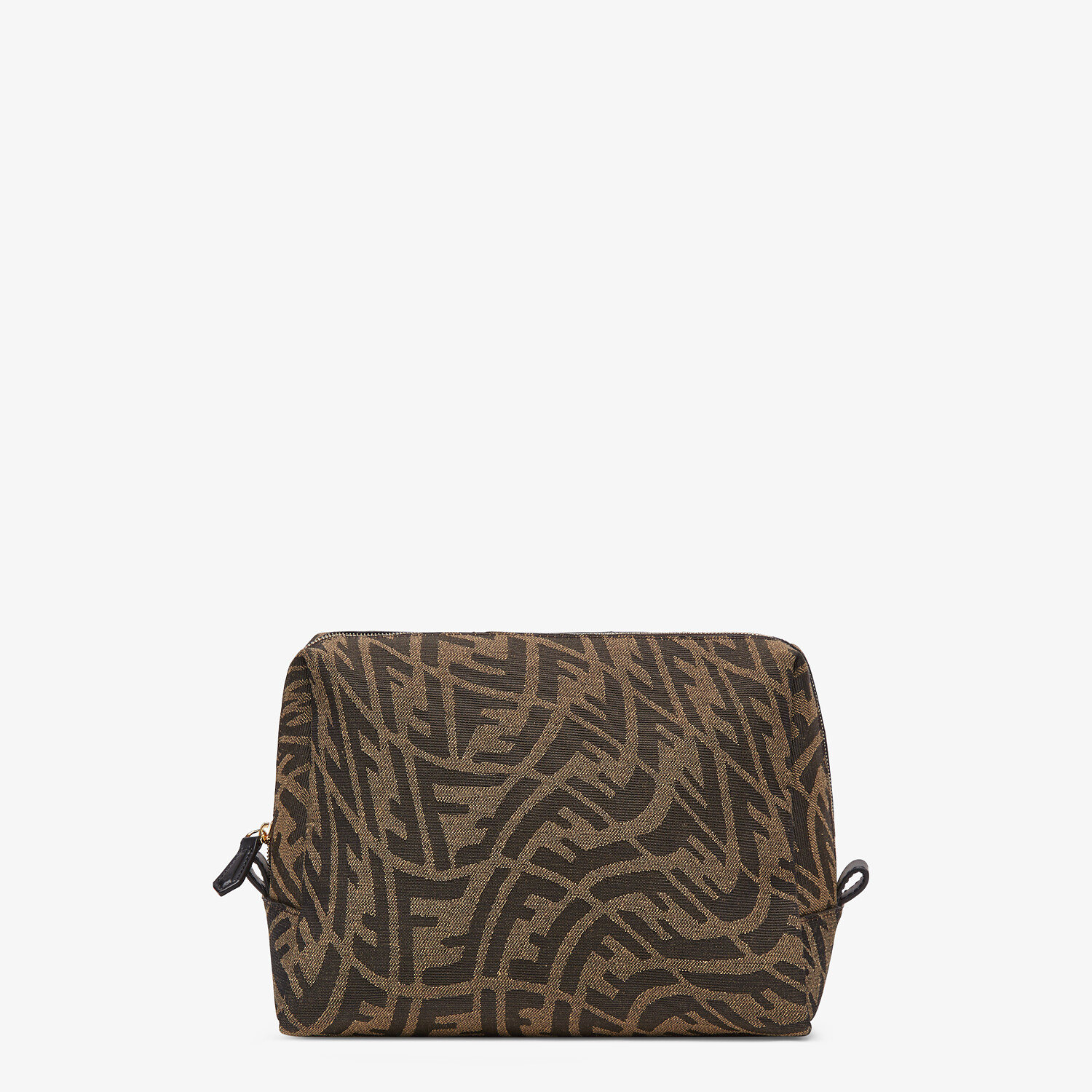 FENDI MEDIUM BEAUTY POUCH - Brown fabric toiletry case - view 1 detail