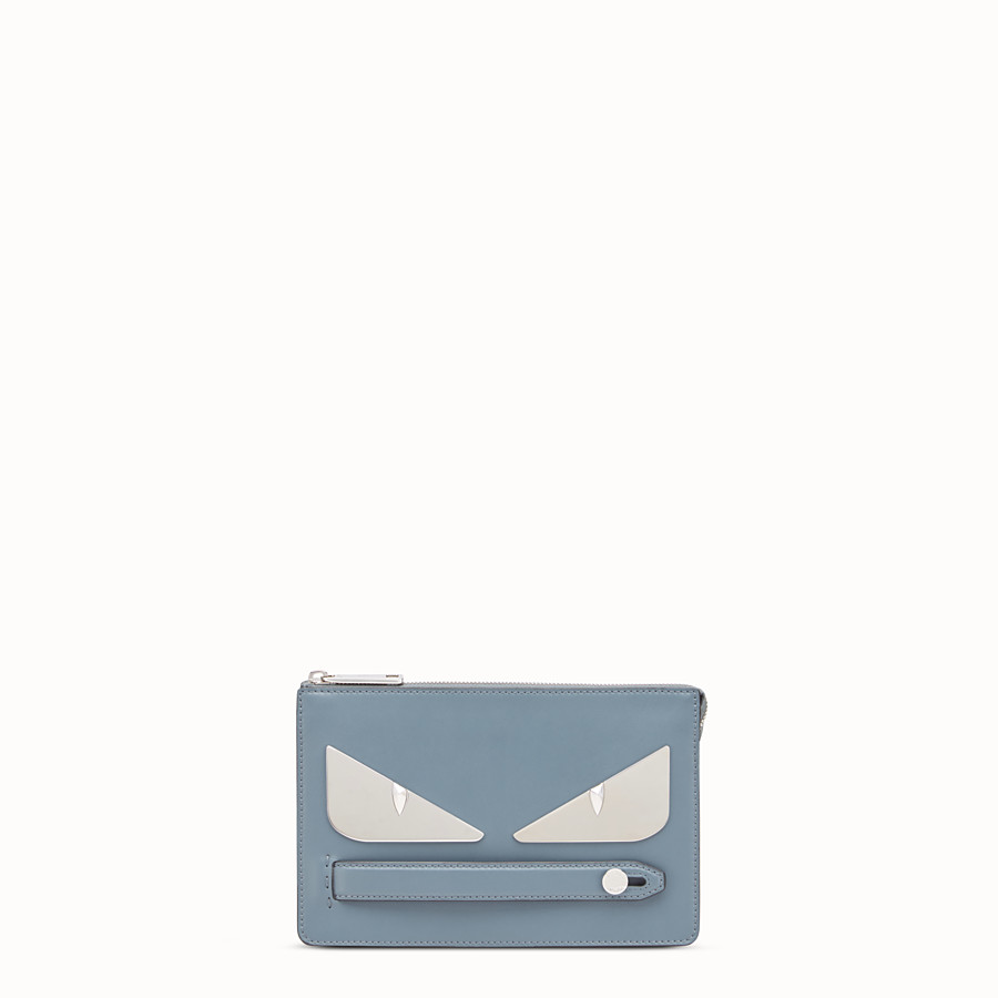 FENDI CLUTCH - Light blue leather pouch - view 1 detail
