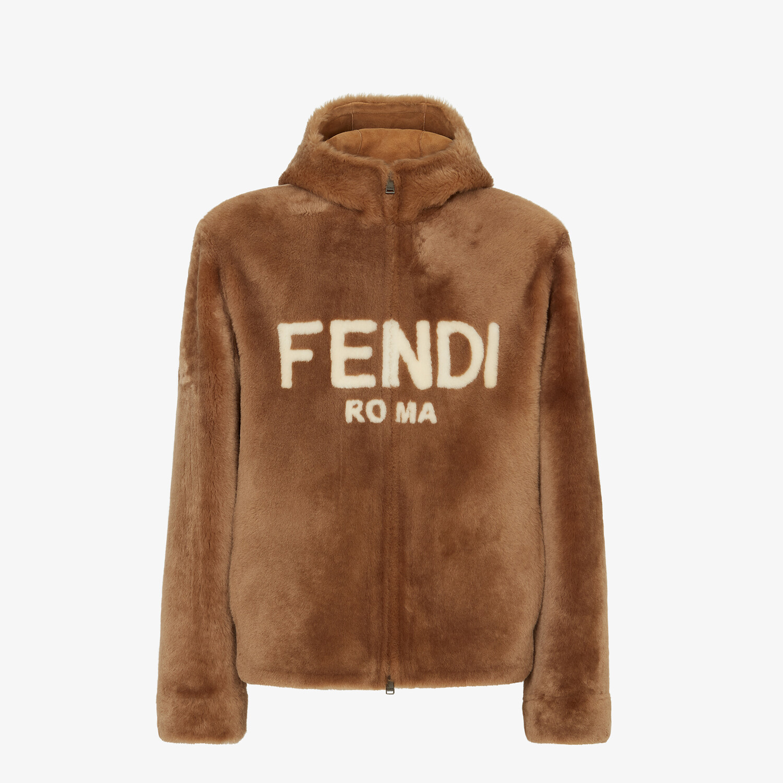 FENDI BLOUSON JACKET - Brown shearling jacket - view 1 detail